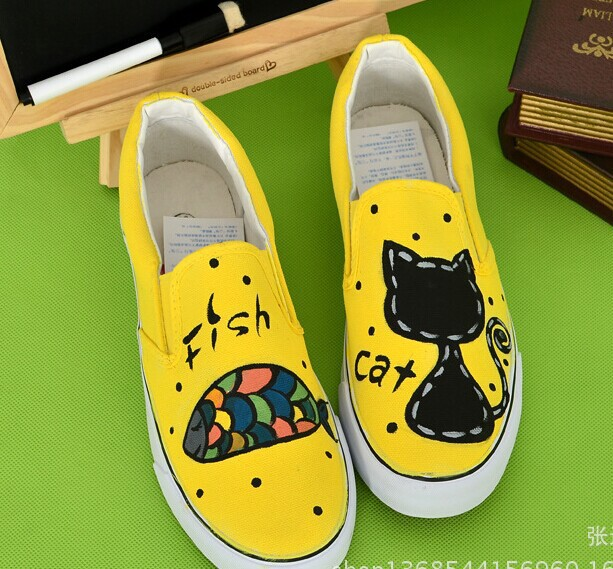 2016 womens spring autumn  hand-painted canvas shoes personality kitten foot wrapping cat femalegraffiti shoes<br><br>Aliexpress