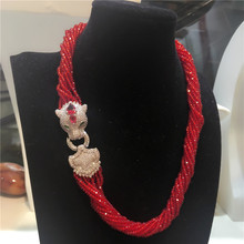 Women's fashion Leopard head clasp DIY accessory red glass crystal necklace welcome custom colors fashion jewelry(China)