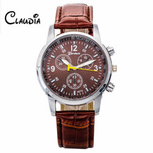New Arrival CLAUDIA Luxury Stylish Faux Crocodile Leather Men Quartz Analog Watches FreeShipping High Quality Relogio Masculino