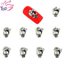 10 Pcs/Lot Silver Alloy Skull Charms 3D Nail Art Supplies Glitter Rhinestones Skeleton Studs Decorations For DIY Nails TN1683