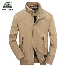 AFS JEEP 2017 European men's autumn casual brand khaki jacket coat spring man 100% pure cotton classic army green jackets coats
