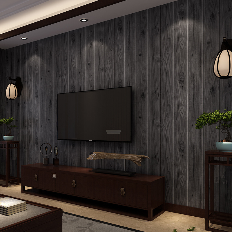 beibehang wallpaper Chinese vintage simulation of wood grain wood flooring wallpaper clothing shop restaurants project wallpaper<br>