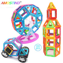 Amosting 100pcs/set 3D Magnetic Building Toys standard size Model Building Toys Brick designer Enlighten Bricks(China)