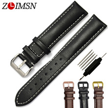 ZLIMSN 100% Genuine Leather Watch Strap Black Brown 18 20 22 24mm Watchband Men Women Stainless Steel Buckle Relojes Hombre 2017
