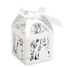 100pcs Couple Design Luxury Lase Cut Wedding Sweets Candy Gift Favour Boxes with Ribbon Table Decorations (White)(China)