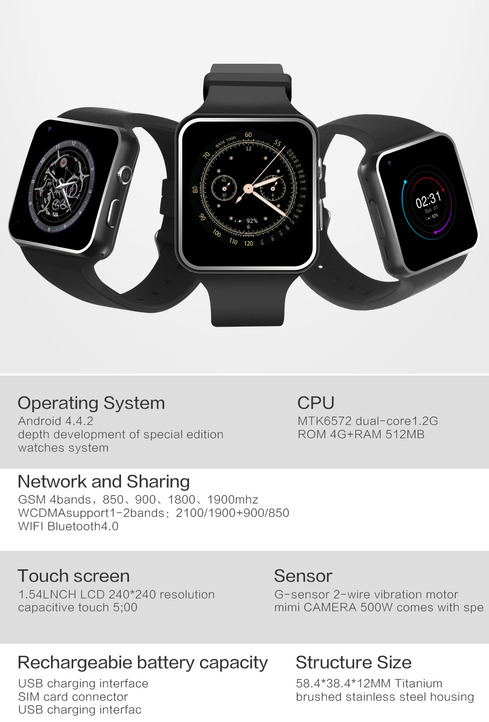 RsFow X6S Smart Watch with Camera MTK6572 512MB 4GB Support 3G SIM GPS AGPS WIFI Gravity Android Bluetooth Smartwatch