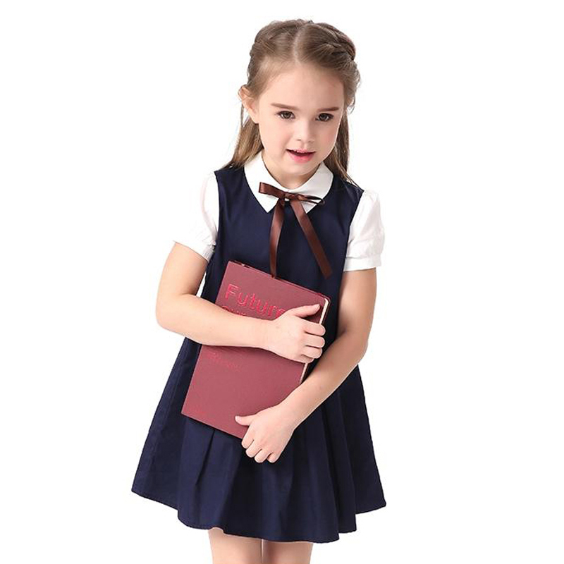 2017 Summer Blue Cotton Short Sleeve Pleated Kids School Uniform Dress Girls 4 6 8 10 12 14 Years Teenage Children Clothing