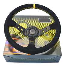 LYJ-PMO003 Suede Leather Racing Car Steering Wheel 350mm Steering Wheel