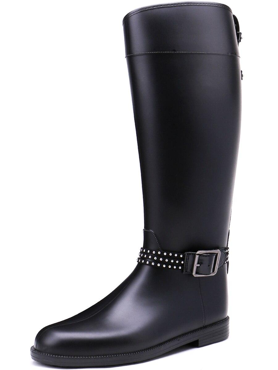 TONGPU Classic Simple Design Womens Zipper Closure Decorative Buckled Waterproof Eco-PVC Rain Boots<br>
