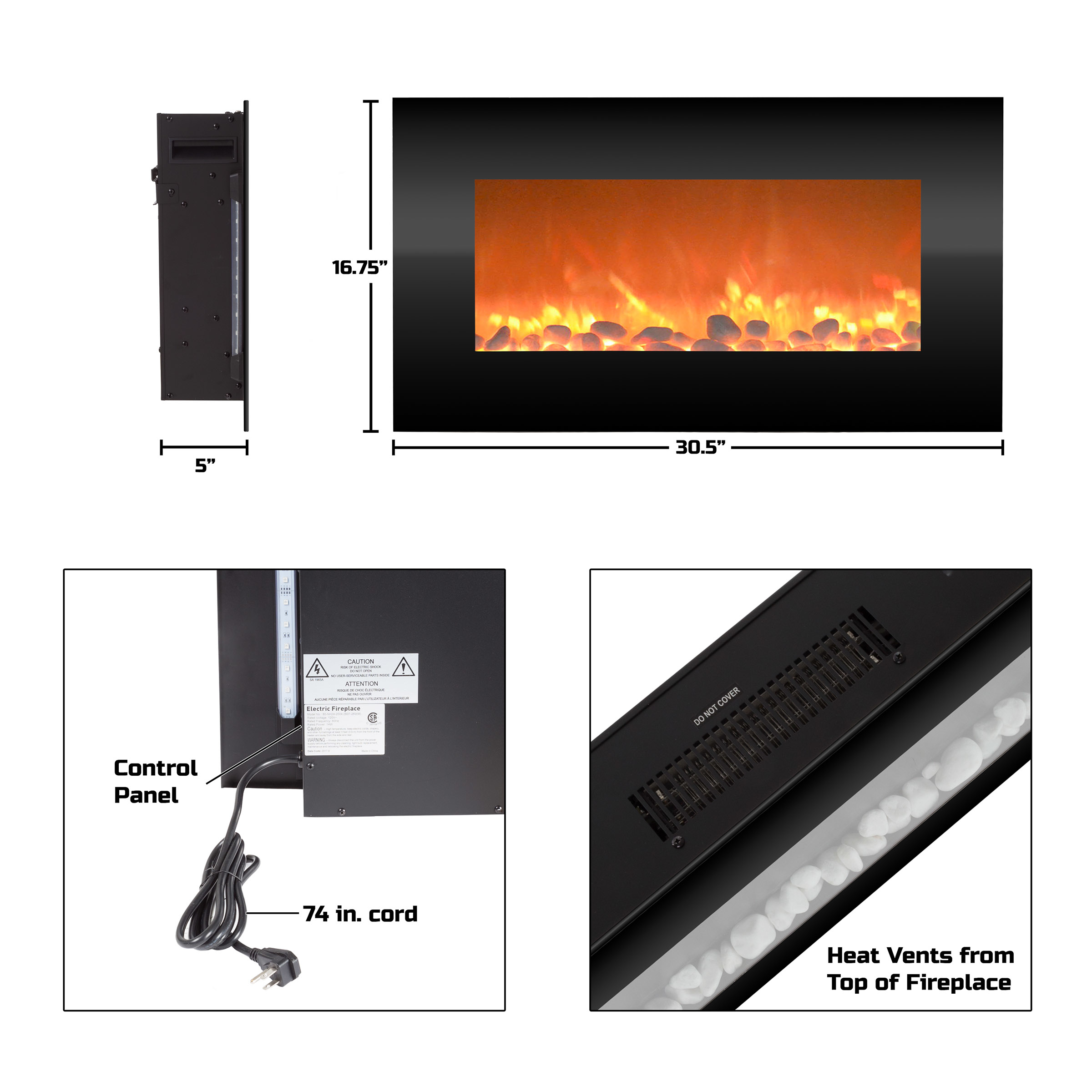 Electric Fireplace Wall Mounted Adjustable Heat Remote Backlight Colors Timer LED Flames 30.5 Inches (1)
