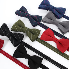 version of the Korean gentleman, pure cotton quality, solid color stripes, casual fashion personality bow tie man(China)