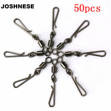 JOSHNESE 50pcs 2/4/6/8# Fishing Swivel Rolling Swivel Coastlock Snap with Connector Fishhooks Fishing Accessories(China)