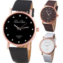 2017 Hot Sale Simple Style Women's Clock saat Diamond Case Leatheroid Band Round Dial Quartz Wrist Watch J8(China)