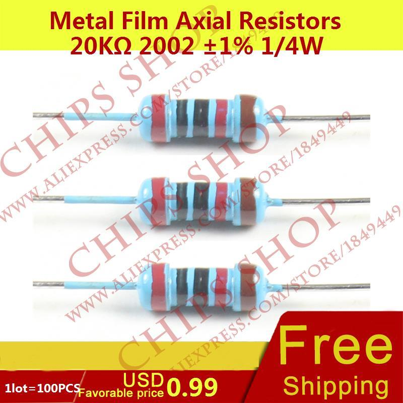 1LOT=100PCS Metal Film Axial Resistors 20Kohm 2002 1% 1/4W 20000ohm 0.25W Wattage1/4W electronic components china(China)