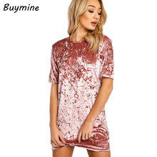 Women Gold Velvet Dress Summer O-neck Short Sleeve Tshirt Dress Elegant High Quality Velvet Party Dresses Short Vestidos Mujer B(China)