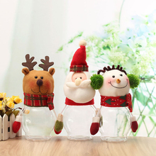 Christmas Snowman Plastic Candy Jars Decorative Holiday Decor Creative Xmas Santa Claus Elk Ornaments Baby Gifts(China)