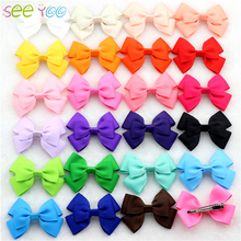 "24Pcs 3"" Multi-overlap Grosgrain Ribbon Bows WITH/WITHOUT CLIPS Bebe Girls Boutique Bow hairclips Hair accessories Kids Hairpins(China)"