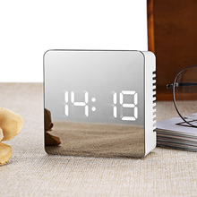 LED Alarm Clock Multifunction Digital Electronic LED Mirror Clock Temperature Snooze Large Display Home Decor Mirror Function(China)