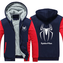 [RTXBQU] New Winter Warm spiderman spider man Hoodies Marvel Hooded Coat Thick Zipper men casual cardigan Jacket Sweatshirt(China)