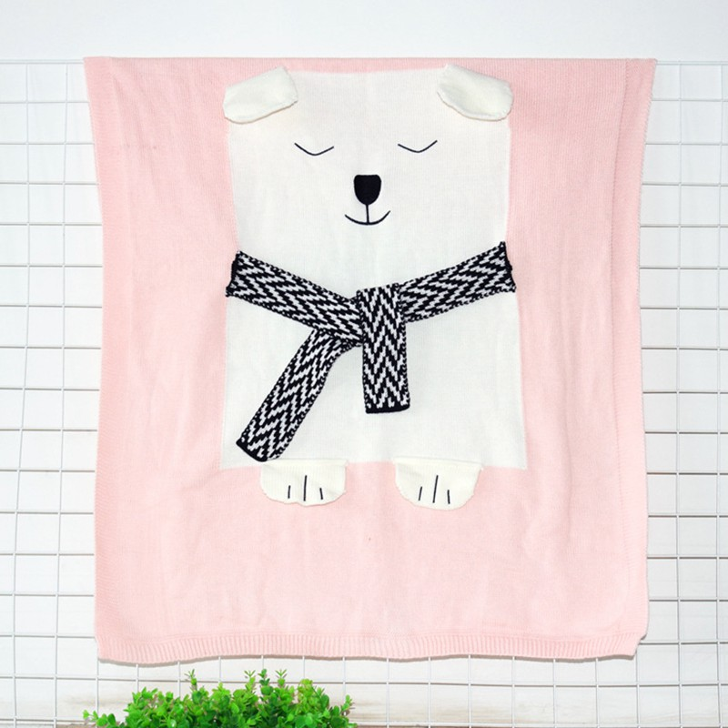 MOTOHOOD Cute Bear Cotton Baby Blankets Newborn Fashion Knitted Muslin Swaddle Wrap Baby Decoration Room Photography Accessories (6)