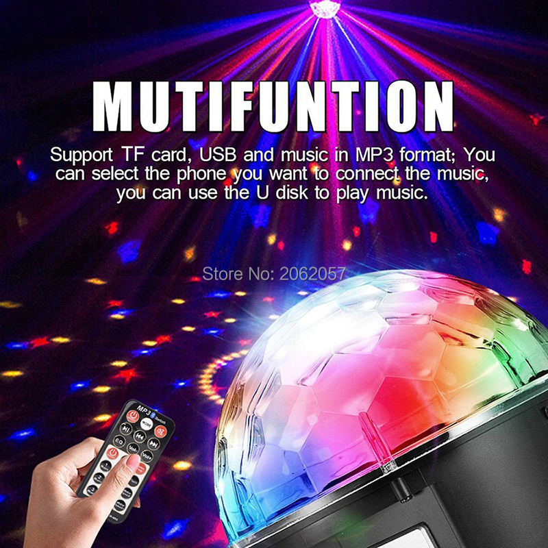 fast shipping Disco ball 256 carfacetadoras lens crystal ball wireless bluetooth projectors for christmas dj wedding party rotating laser light (8)