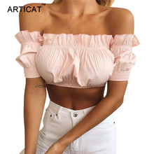 Articat Off Shoulder Women Crop Top 2018 Summer Lantern Sleeve Ruffles Sexy Strapless Short Ruched Tops Elastic Cropped Tank Top(China)
