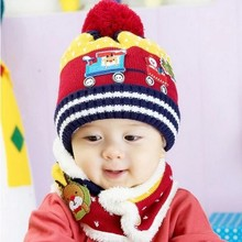 Crochet Baby Hat and Neck Scarf Set Autumn Winter  Christmas Pattern Woolen Cap for  Infant Girl Boy Kids  Soft and Warm Hat