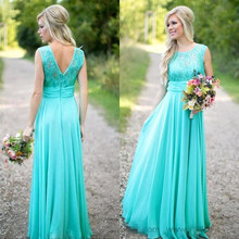 New Arrival Turquoise Long Chiffon Dresses 2017 Scoop Neckline Lace Top V Backless Dresses For Wedding(China)