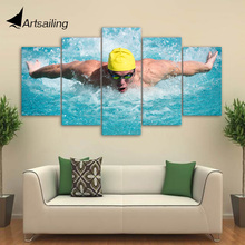 5 Piece Canvas Art HD Printed Swimming Fitness Painting Gym Framed Poster Wall Pictures For Living Room Free Shipping NY-6989C