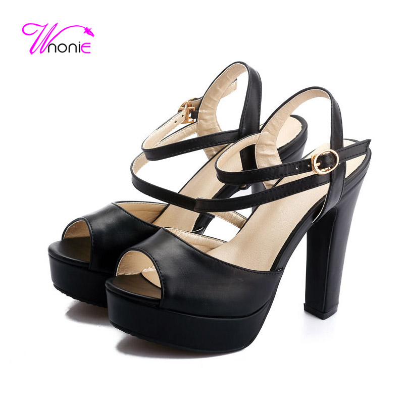 2017 ShoesWoman Sandals Ankle-strap Square Thick Block High Heel Sandals PU Platform Buckle Dress Party Sexy Summer Ladies Shoes<br><br>Aliexpress