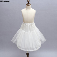 In Stock One Hoop Two Layers Children Petticoat Kid Tulle Satin Crinoline For Flower Girl Dresses White Little Girl Petticoat