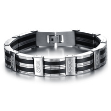 Men Bracelet Brazalet High Quality Stainless Steel & Black Silicone Mens Bracelets Jewelry Wristbands Band free shipping(China)