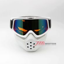 Off-Road Motorcycle Motocross Goggles Glasses Detachable Face Dust Mouth Fliter Mask White Frame Orange Len Red Plating(China)
