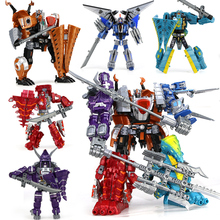 Anime 5 in 1 combination Toys Kids Classic Dinosaur Plastic Dragon Robot Action & Toy Figures Kids Education Toy Gifts for boy