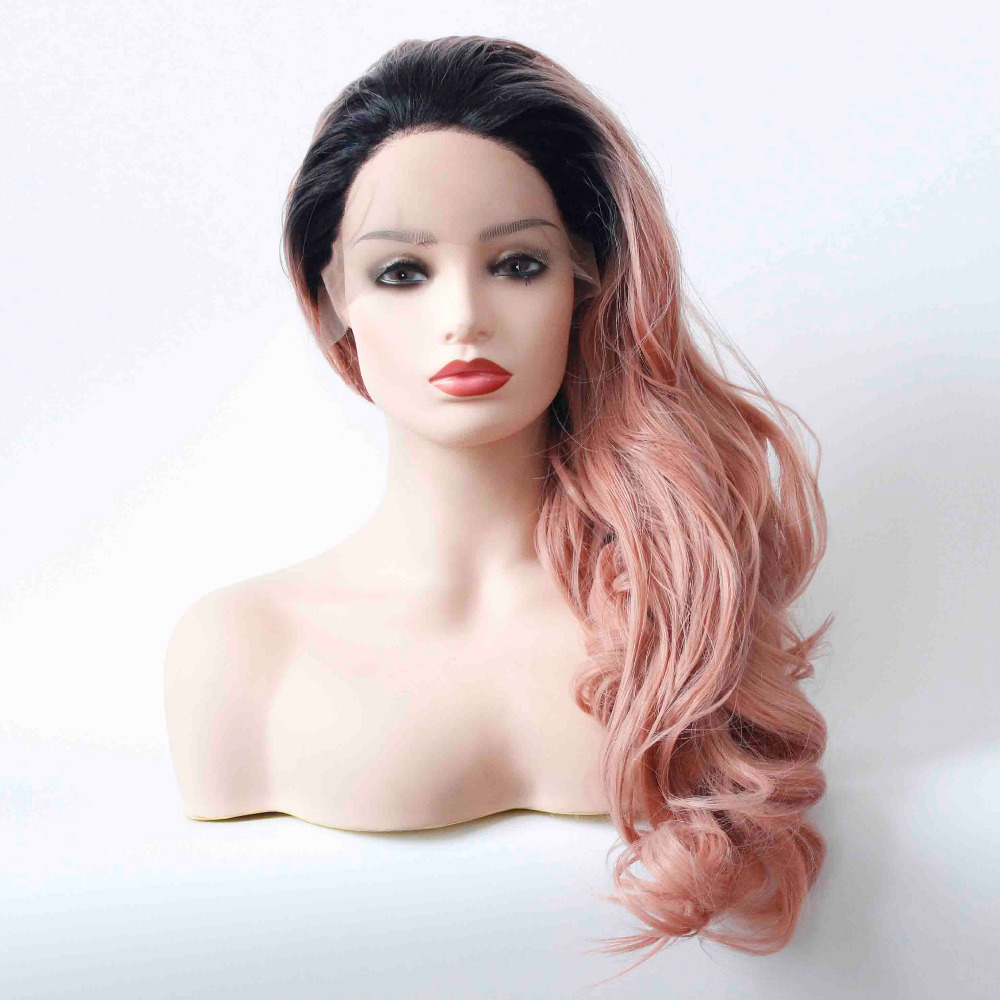 Synthetic Lace Front Ombre Peach Red Wig for Women Long Wavy Heat Resistant Pink Hair Glueless Hair Replace Daily Wig-3