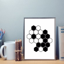 Geometric shape Black White Hexagon Canvas Print Painting Abstract Nordic Style Picture Wall Art Poster For Home Decor LZ1026