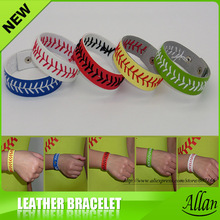 Leather Softball Seam Bracelets Yellow with Red Seam Wholesale Fast Pitch(China)