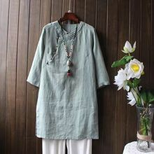 Retro Chinese Style Arts and Crafts Bronze Buckle Seven Sleeve Cotton / Hemp Dresses Spring Flax Robe  Zen Tea