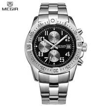 MEGIR Original Men Watch Luxury Brand Stainless Steel Chronograph Military Quartz Watches Men Wristwatches Relogio Masculino