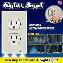 1pc Plug Cover White Duplex Night Angel Light Sensor LED Plug Cover Wall Outlet Coverplate