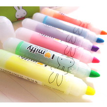 6pcs/set Highlighter Marker 6 Coloursnew Cute Mify Rabbit Diy Multifunction Fluorescent Pen Free Shipping(China)
