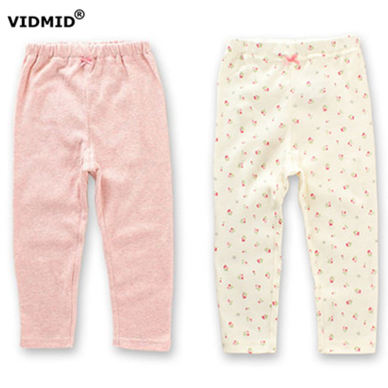 VIDMID Baby girls 2017 new arrival cotton pants with bowkont kids 2 colors long length legging pants girls sleep pants  4003 01