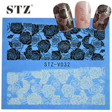 1sheets Hot Designs Black&White Sexy Rose Flower Decals for Nail Art Water Transfer Tips Nails Manicure Styling Tools STZV032