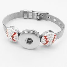 Baseball softball basketball football Volleyball 18mm Snap button bracelet DIY Stainless Steel Charm Bangles NCAA MLB BY1063(China)