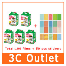 100 Sheet Fujifilm Instax Film + 50 Sheet Free Gift Stickers For Fujifilm Instant Camera Mini 7s 8 25 50s 90 70 SP-1 , Free Ship