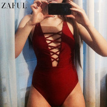 ZAFUL New One Piece Swimsuit 2017 Women Sexy Lace Up Bathing Suit Bodysuit Swimwear Backless Beachwear Bandage Monokini Female
