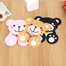 Fashion Cartoon Bear Silicone Cups Mats 3 Color Table Decoration Creative Anti-scald Placemats For Dining Table Tableware Pads