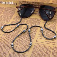 5 Pcs/Lot Copper String Glass & Gray Beaded Eyeglass Eyewears Sunglasses Reading Glasses Chain Cord Holder Neck Strap Rope
