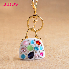 Cute Handbag Luxury Keychain Key Chain & Key Ring Holder Keyring Porte clef Gift Women Souvenirs Bag Pendant Car(China)
