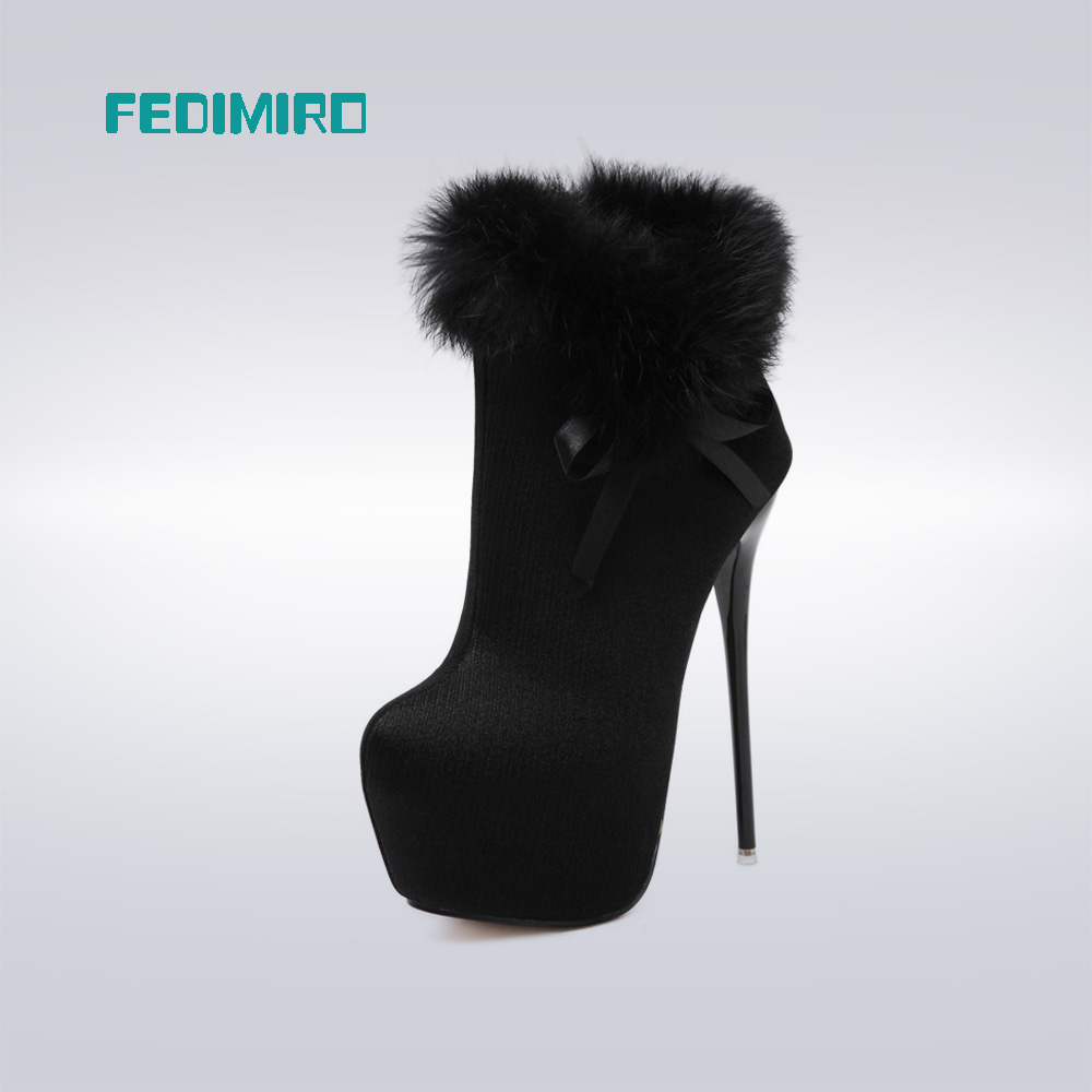 Female WInter Platform Pumps Round Toe Fur Black High Heel Boots Women Plus fur Fashion Ankle Boots 16 CM High Heels,Size 34-40<br><br>Aliexpress